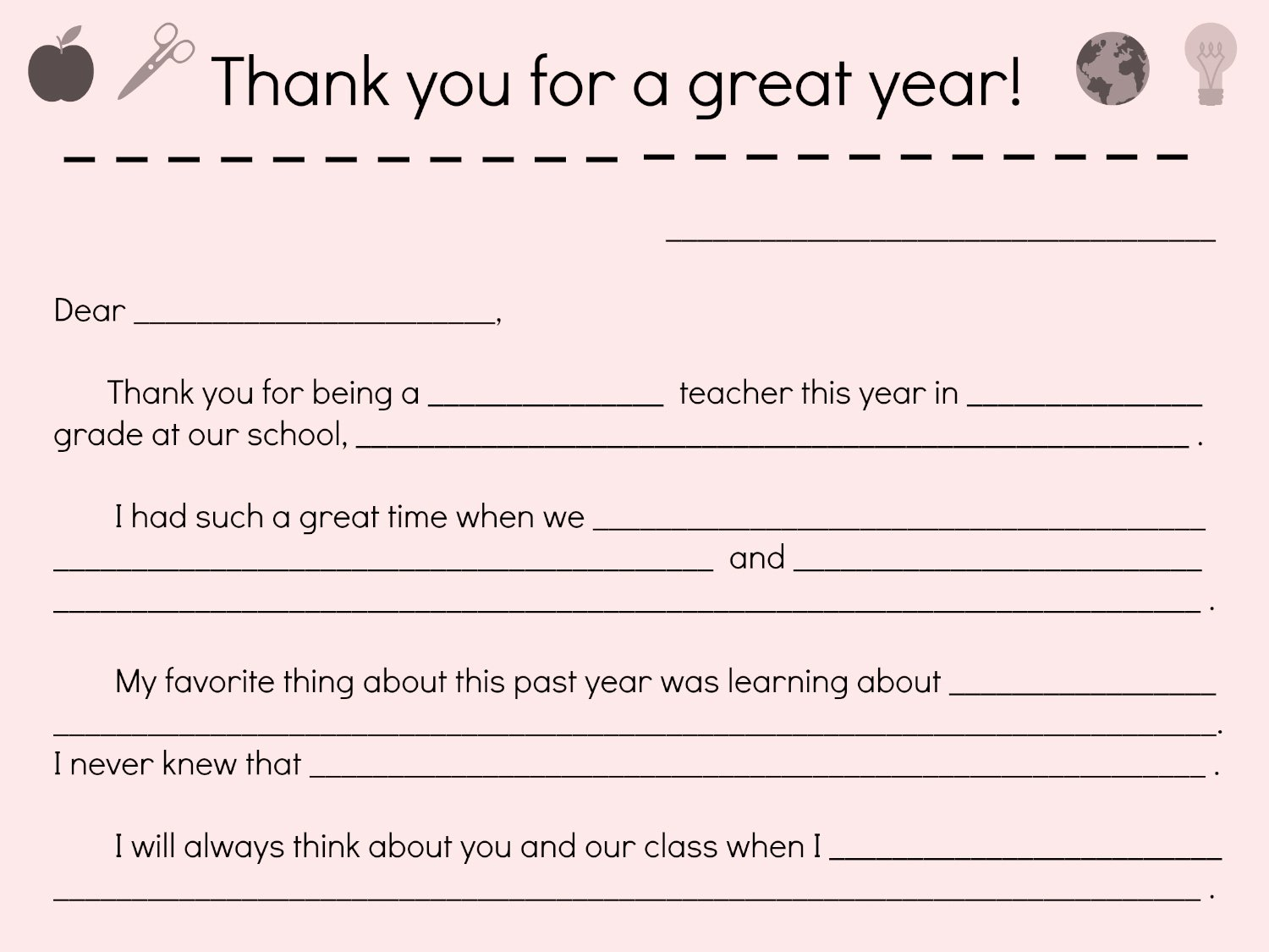 Thank You Note to Parents Fresh Say Thanks to Teachers with A Fill In Note From Your Child