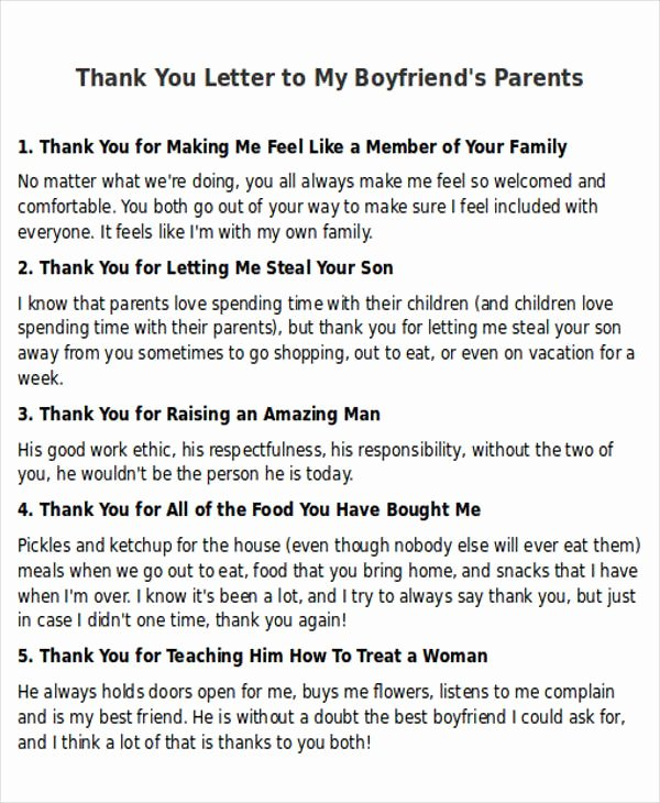 Thank You Note to Parents Lovely Sample Thank You Letter to My Boyfriend 5 Examples In