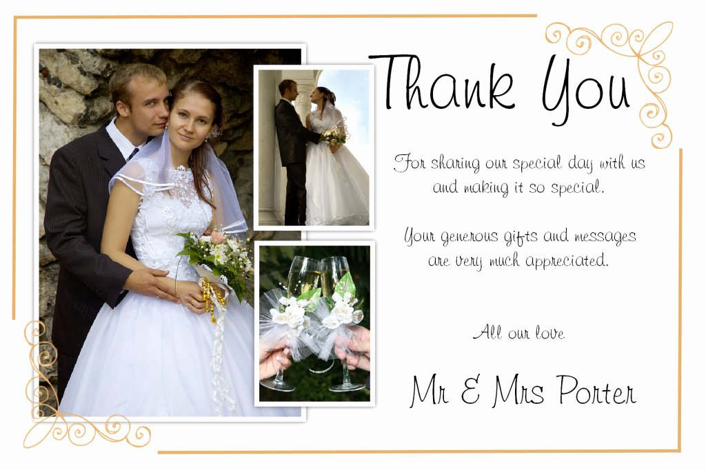 Thank You Note Wording Wedding Awesome Unique Diy Wedding Thank You Card Ideas – Weddings by Helen