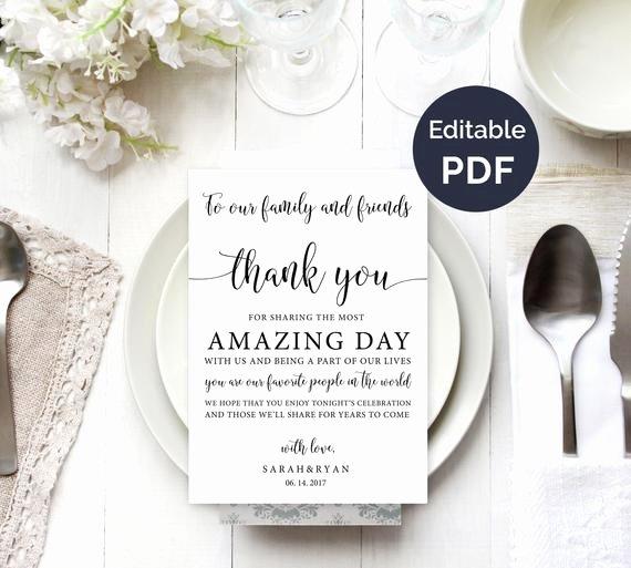 Thank You Note Wording Wedding Beautiful Wedding Thank You Note Template Wedding Table Thank You