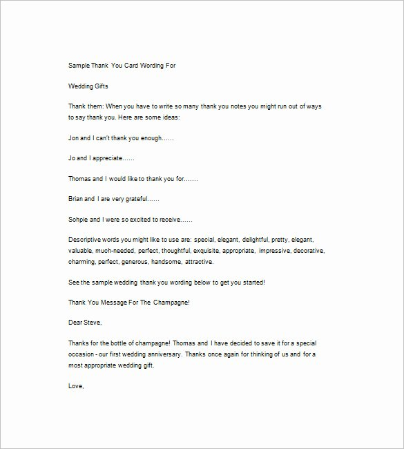 Thank You Note Wording Wedding Best Of 4 Wedding Thank You Note Free Word Excel Pdf format