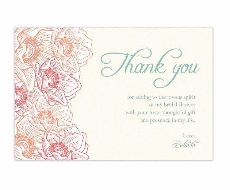 Thank You Note Wording Wedding Elegant Bridal Shower Thank You Cards Wording