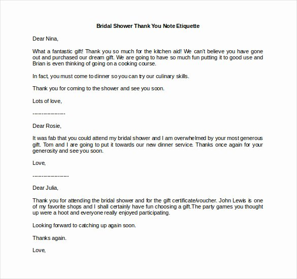 Thank You Note Wording Wedding Fresh 8 Bridal Shower Thank You Notes – Free Sample Example