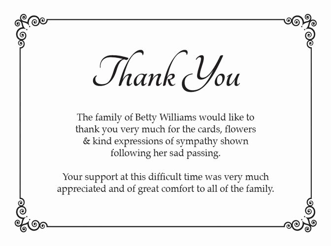 Thank You Notes for Deaths Best Of Funeral Thank You Card Ideas Google Search