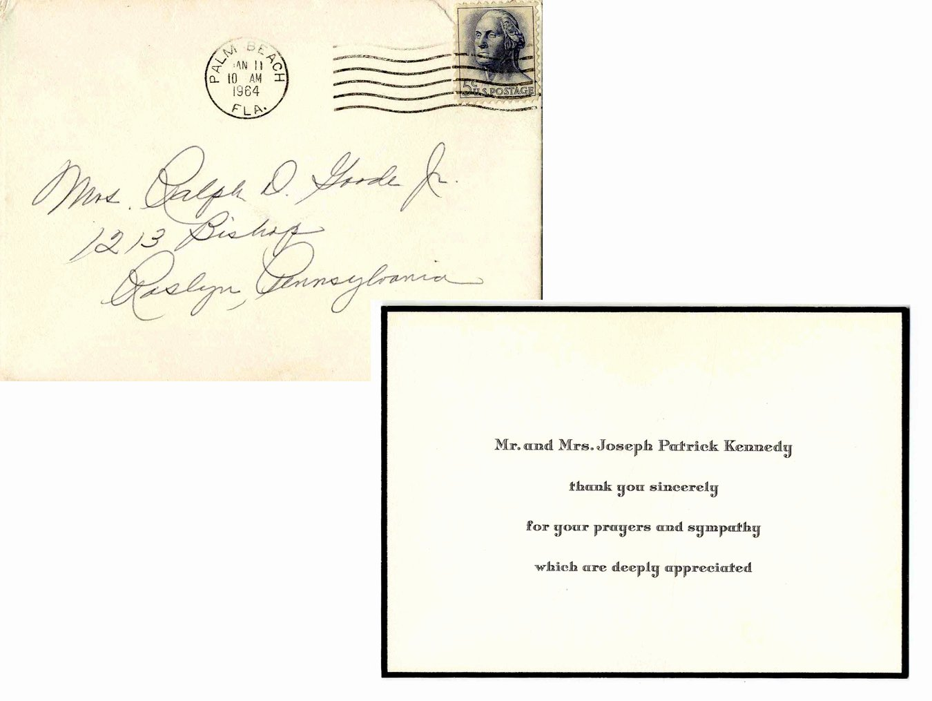 Thank You Notes for Deaths Best Of Lot Detail Joseph & Rose Kennedy Thank You Card