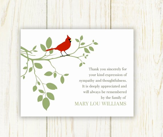 Thank You Notes for Deaths Elegant Red Bird Funeral Thank You Card Digital Sympathy Card