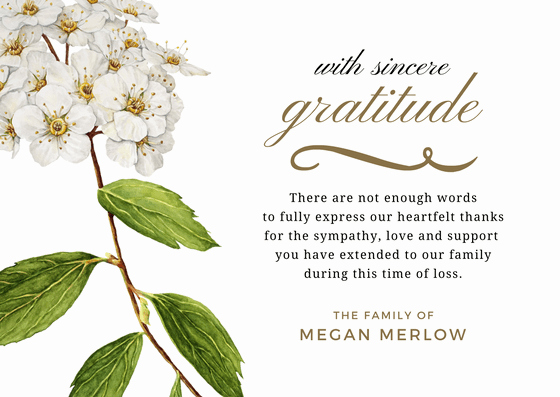 Thank You Notes for Deaths Fresh Bereavement Thank You Note Message