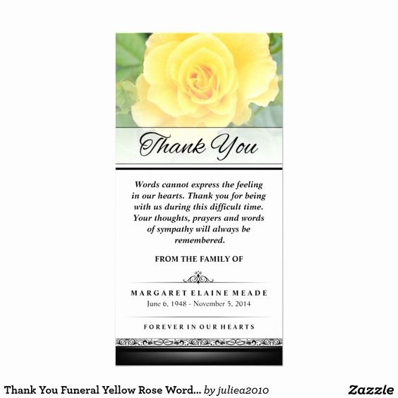 Thank You Notes for Deaths Fresh Thank You Funeral Yellow Rose Words Cannot Express