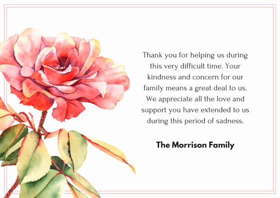 Thank You Notes for Deaths Inspirational Bereavement Wording for Thank You Cards