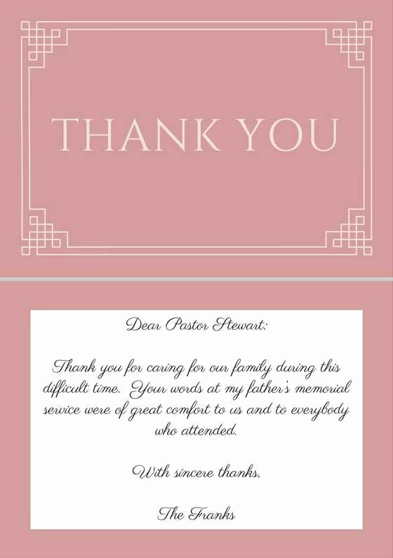 Thank You Notes for Deaths Luxury Sample Wording for A Funeral Thank You Note for A Pastor