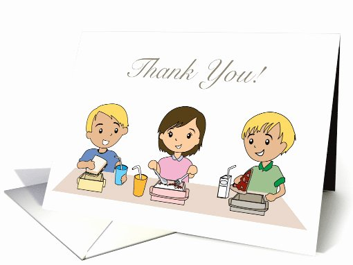 Thank You Notes for Lunch Elegant School Children Lunch Cafeteria Thank You Illustration