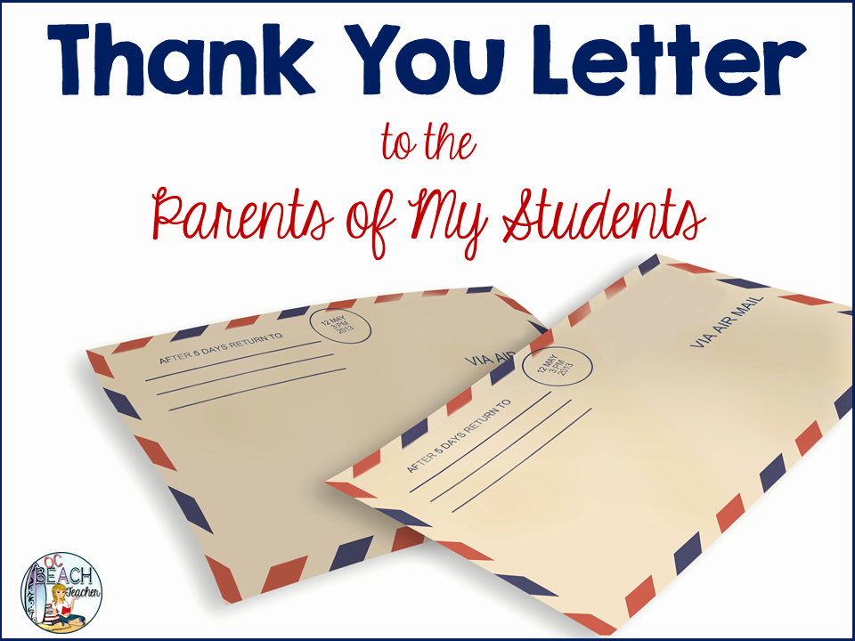 Thank You Notes for Parents Awesome A Thank You Letter to Parents Ocbeachteacher