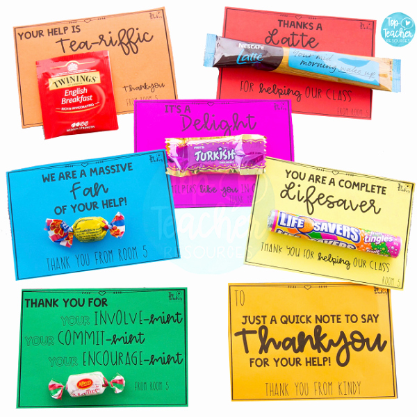 Thank You Notes for Parents Awesome Parent Helper Thankyou Gift Tags