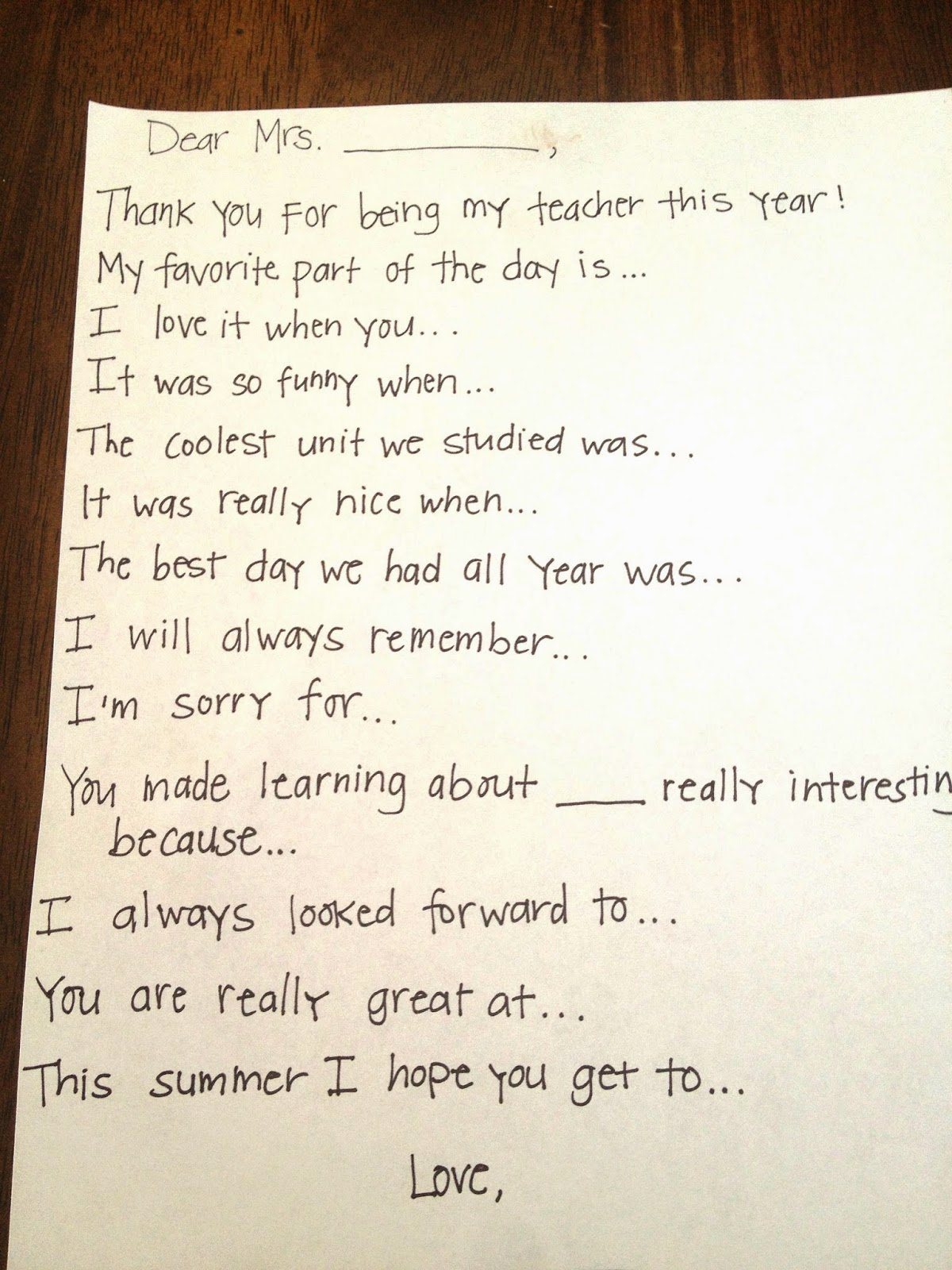 Thank You Notes for Parents Beautiful Teacher Thank You Note Prompts