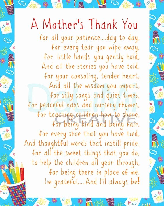 Thank You Notes for Parents Elegant Teacher Appreciation Print End Of Year Teachers by