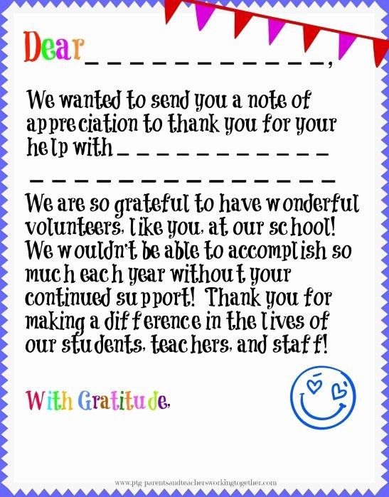 Thank You Notes for Parents Fresh Volunteer Appreciation In Your Parent Teacher Group are