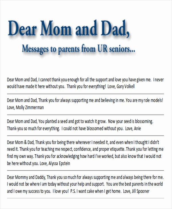 Thank You Notes for Parents Inspirational Sample Thank You Note to Parents 7 Examples In Word Pdf