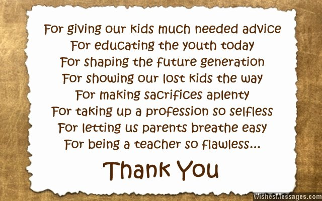 Thank You Notes for Parents New Thank You Messages to Teachers From Parents Notes and