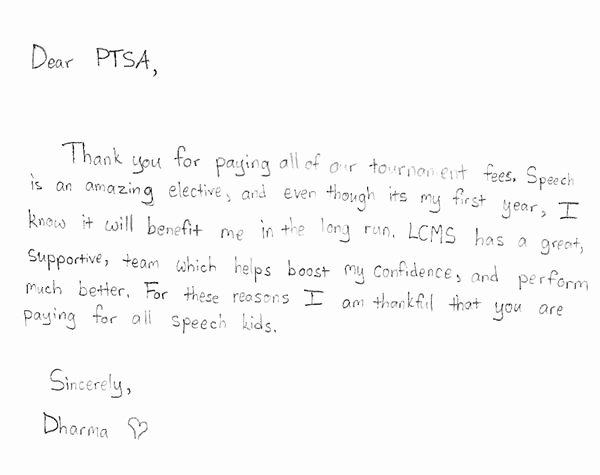 Thank You Notes for Parents Unique Parent Teacher Student association Thank You From Students