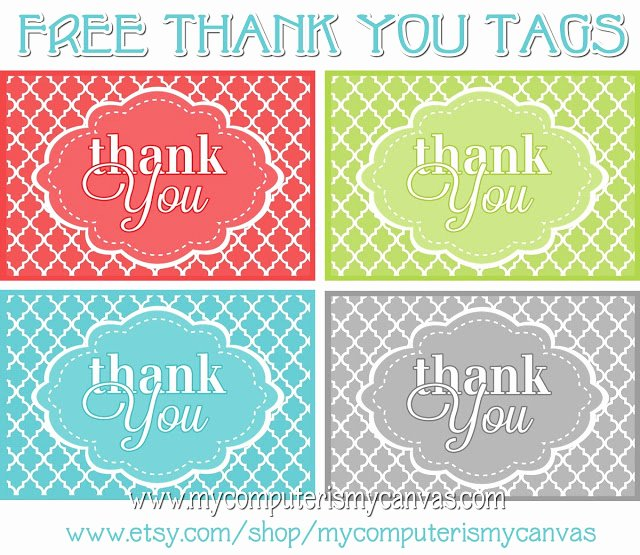 Thank You Tag Template Awesome My Puter is My Canvas Freebie Printable Thank You Tags