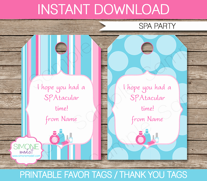 Thank You Tag Template Beautiful Spa Party Favor Tags Template