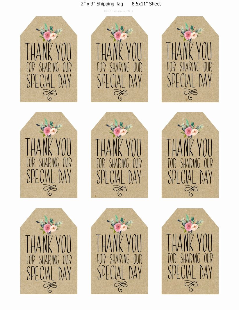 Thank You Tag Template Best Of Printable Wedding Favor Tags Thank You Printable Tags