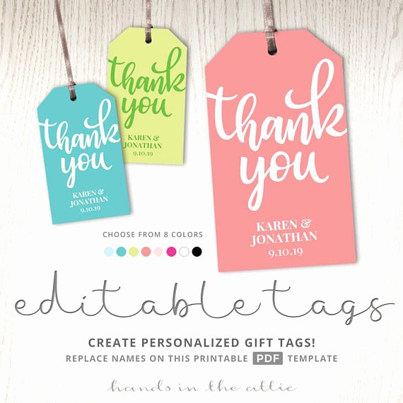 Thank You Tag Template Fresh Thank You T Tag Template Tags Printable Party Favor Tags