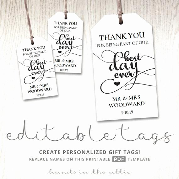 Thank You Tag Template Luxury Gift Tags for Wedding Day Thank You Best Day Ever