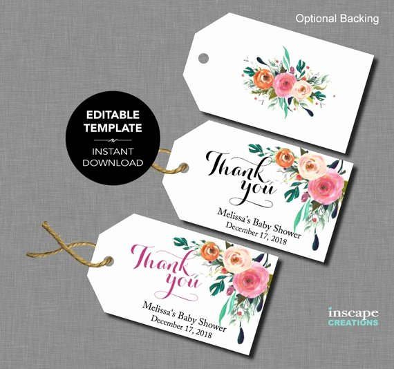 Thank You Tag Template Unique Editable Baby Shower Favor Tags Editable Template Thank
