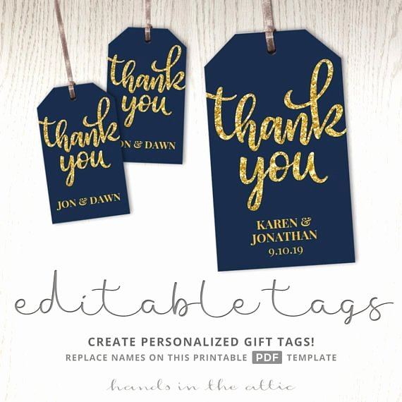 Thank You Tag Template Unique Thank You Tags T Labels Navy and Gold Wedding Favor