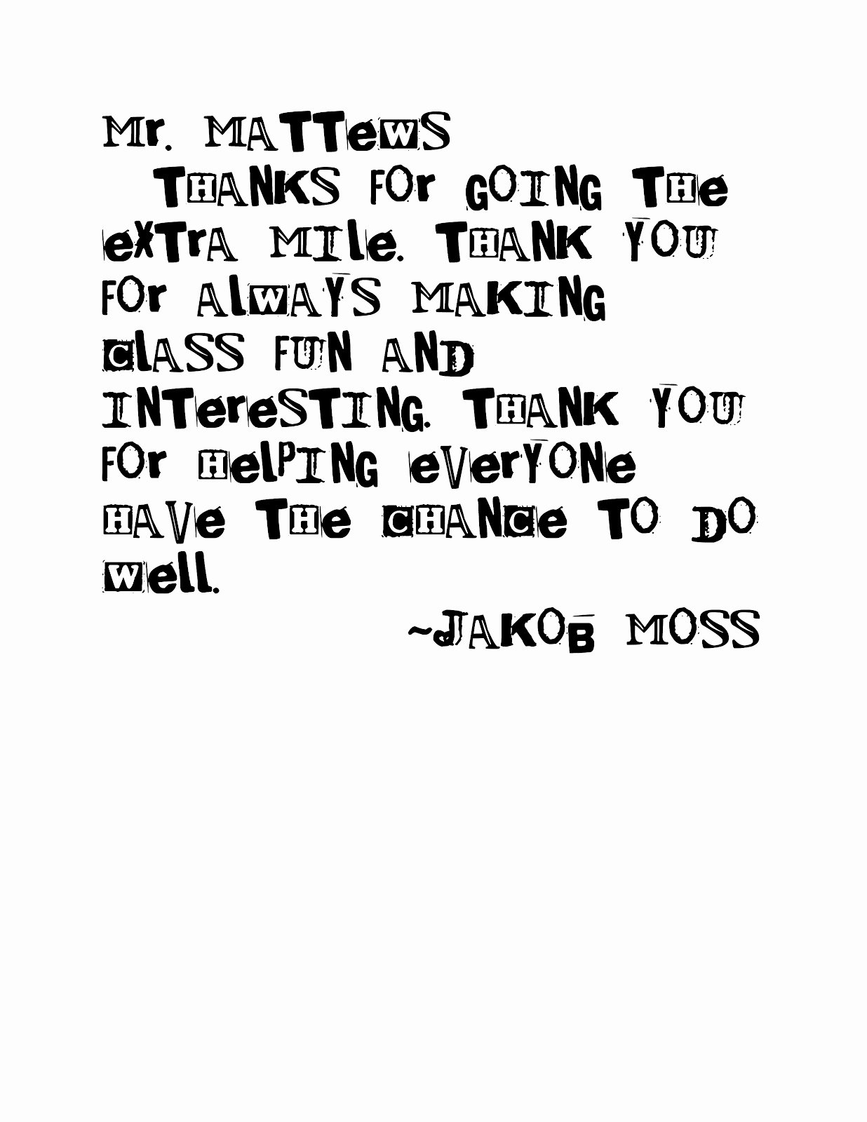 Thank You Teacher Notes Awesome Moss Moments Simple Teacher Thank You
