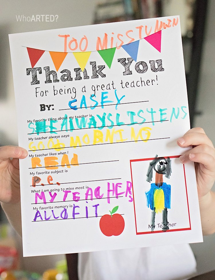 Thank You Teacher Notes Awesome Teacher Appreciation Thank You Letter Printable who Arted
