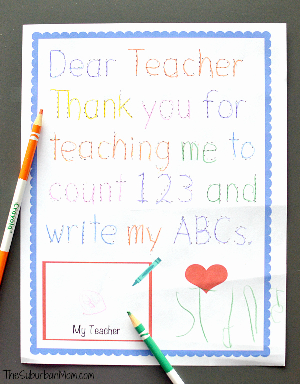 Thank You Teacher Notes Beautiful Traceable Preschool Teacher Thank You Note