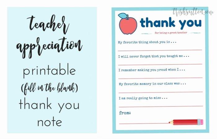 Thank You Teacher Notes Best Of Teacher Appreciation Week Printable Thank You Note