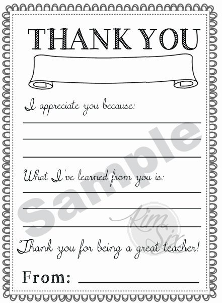 Thank You Teacher Notes Best Of Thank You Teacher Appreciation Note