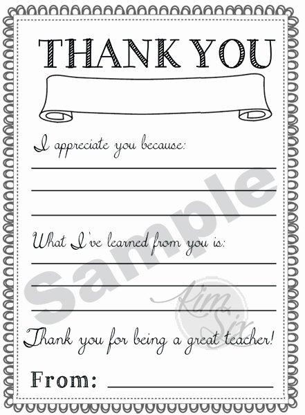 Thank You Teacher Notes Best Of Thank You Teacher Appreciation Note