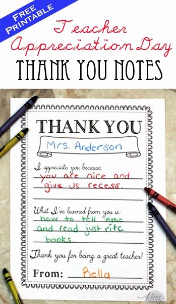 Thank You Teacher Notes Elegant Teacher Appreciation Day Printable Thank You Notes