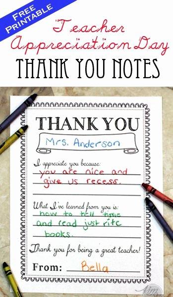 Thank You Teacher Notes Elegant Teacher Appreciation Day Printable Thank You Notes