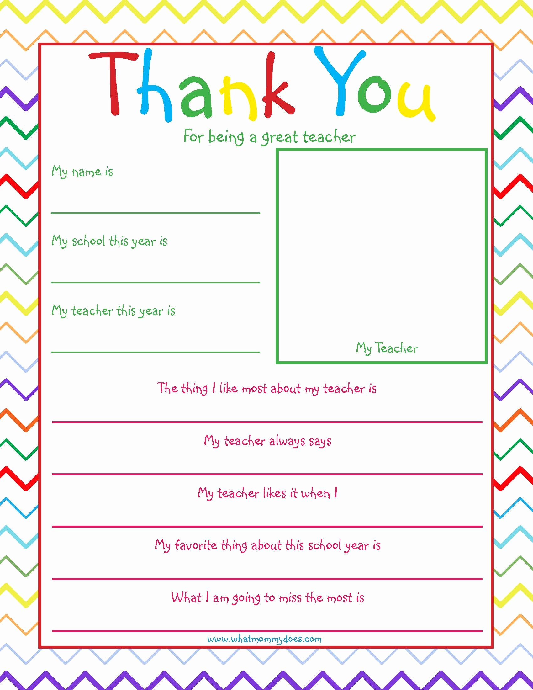 Thank You Teacher Notes Inspirational Free Printable Teacher Thank You Note so Cute What