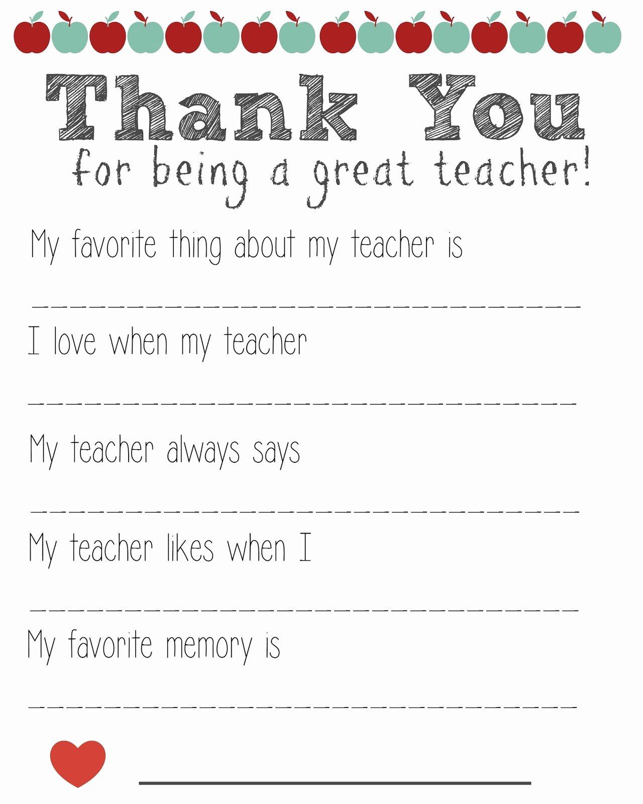Thank You Teacher Notes Luxury Thank You Teacher Free Printable