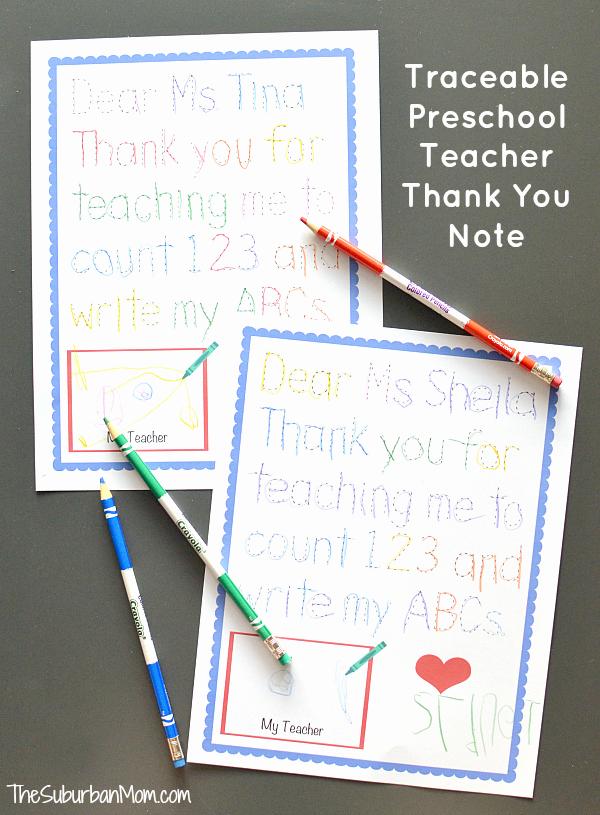Thank You Teacher Notes Luxury Traceable Preschool Teacher Thank You Note