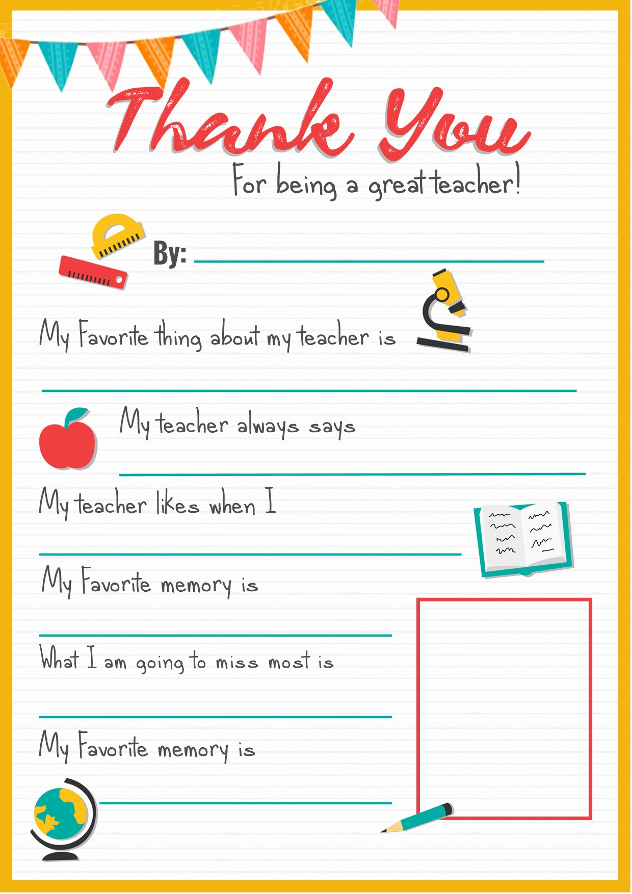 Thank You Teacher Notes New Thank You Teacher A Free Printable