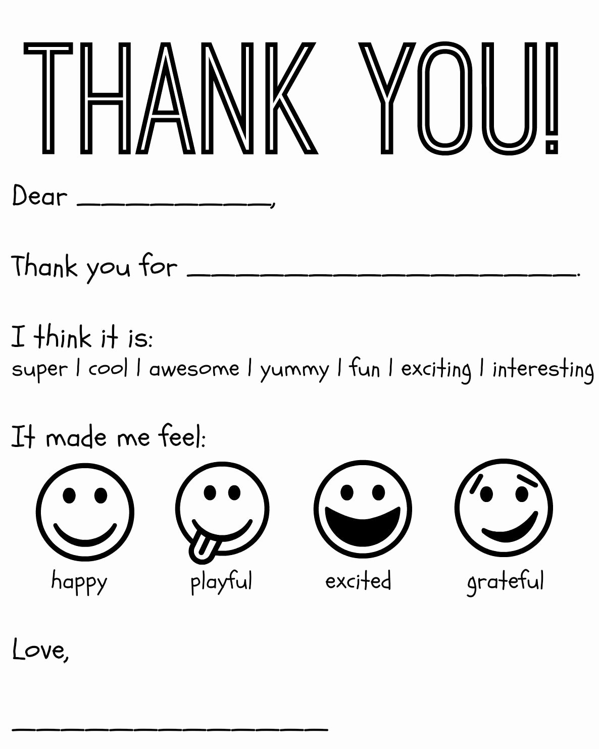 Thank You Template Free Awesome Free Printable Kids Thank You Cards to Color