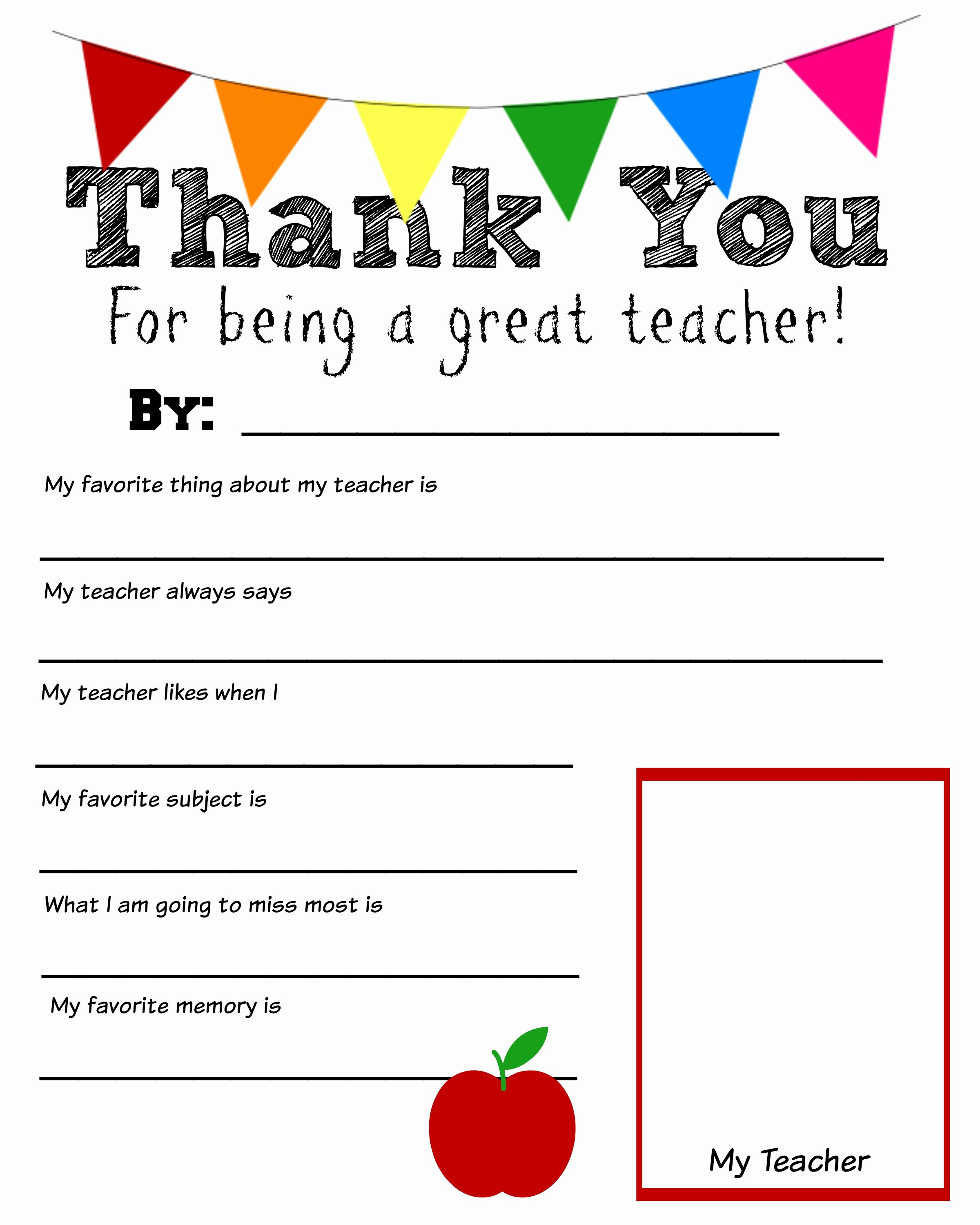 Thank You Template Free Inspirational Thank You Teacher Free Printable