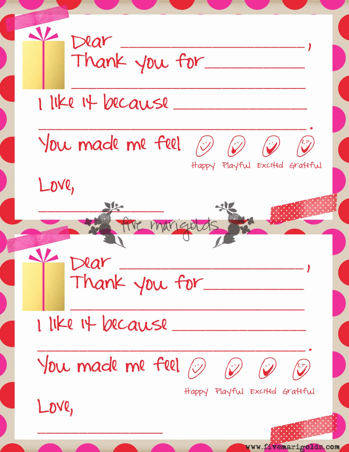 Thank You Template Free Unique Christmas Thank You Note Templates for Kids Five Marigolds