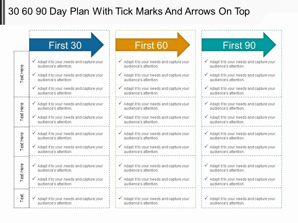The First 90 Days Template Luxury 30 60 90 Day Plan with Tick Marks and Arrows top