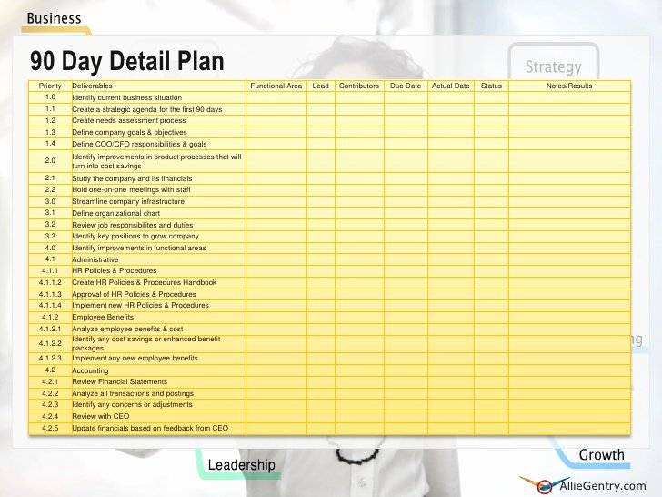The First 90 Days Template New Chief Operating Ficer 90 Transition Plan