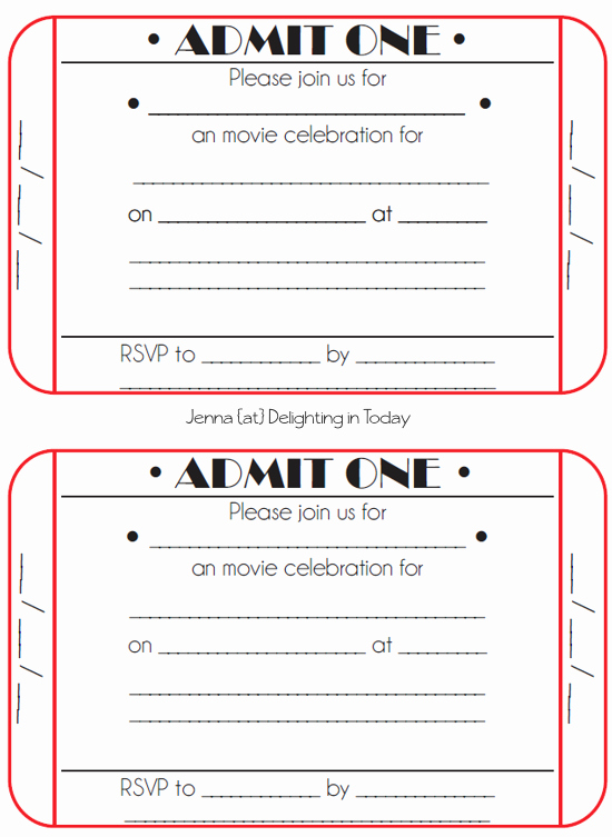 Ticket Template Free Printable Best Of Movie Ticket Birthday Invitations Free Printable
