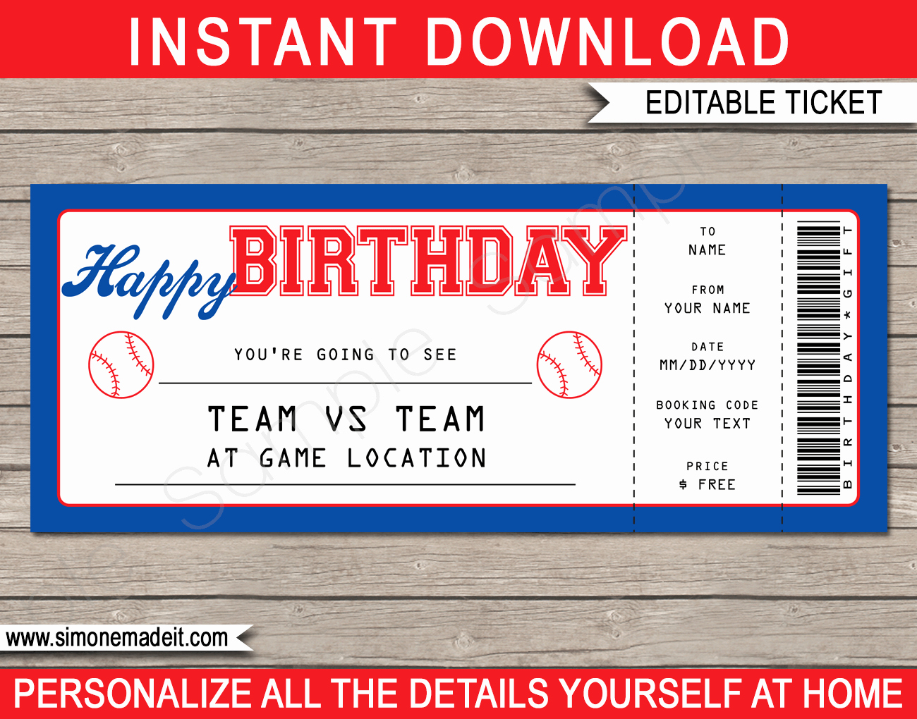 Ticket Template Free Printable Fresh Baseball Game Birthday Gift Ticket