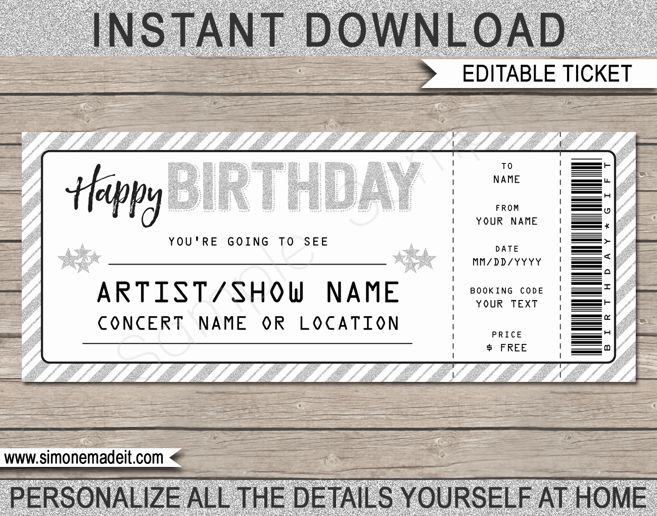 Ticket Template Free Printable Fresh Printable Concert Ticket Template